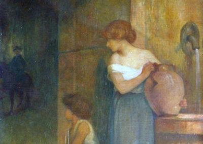 Femme emplissant une cruche à la fontaine. Villa San Carlos, Pau, 1910