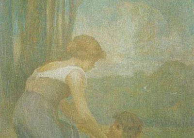 Femme et enfant au bord de l'eau. Villa San Carlos, Pau, 1910